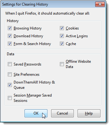 firefox setting for clear history when close