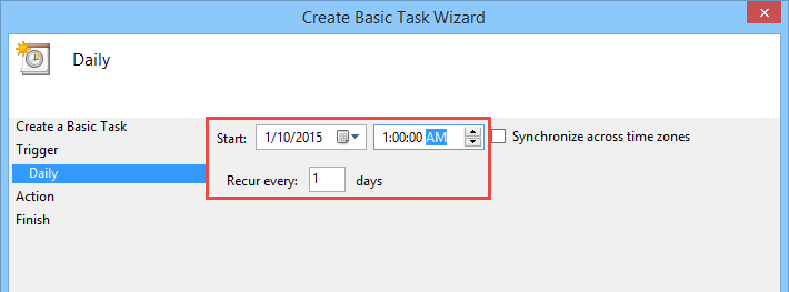 task starting date and time